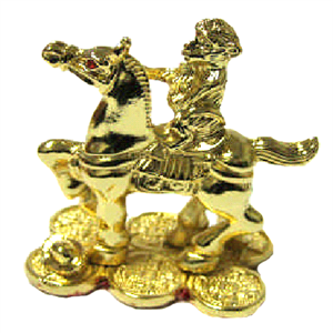 Gold Monkey Atop Horse
